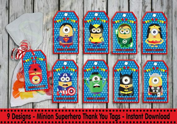 9x SUPERHERO MINIONS Thank you Tags by LollipopPartyDesigns