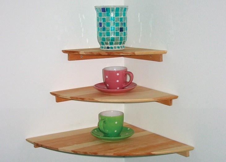 Solid Unfinished Pine Corner Shelf With Beveled Edge