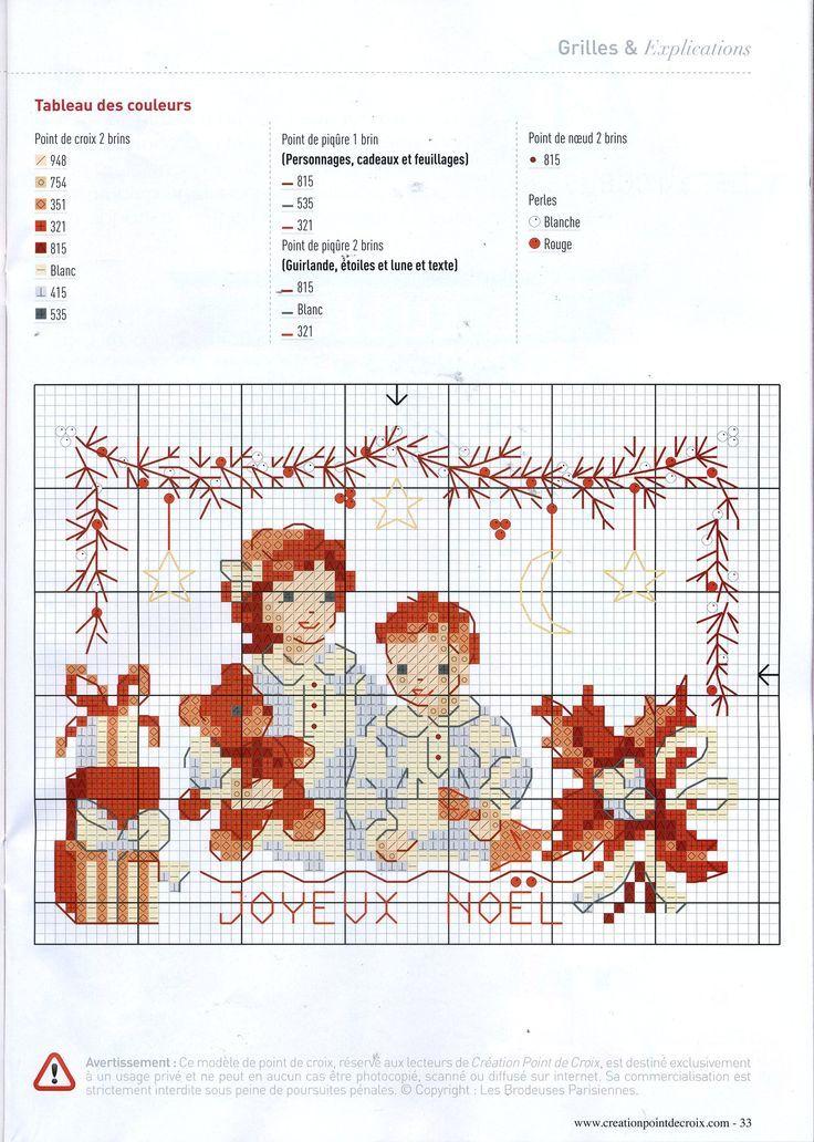 0 point de croix grille et couleurs de fils petite fille et petit garçon à noel