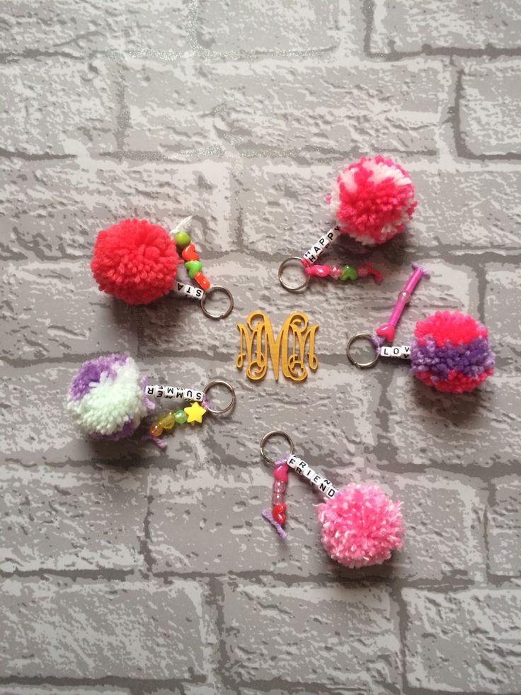 Pom pom bag charms! Handmade