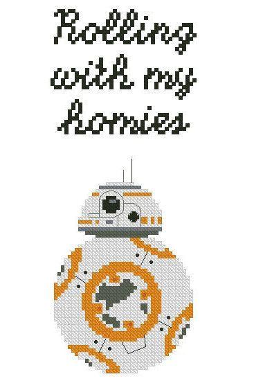 BB-8 Rolling with my homies cross stitch by KipperandKitsch