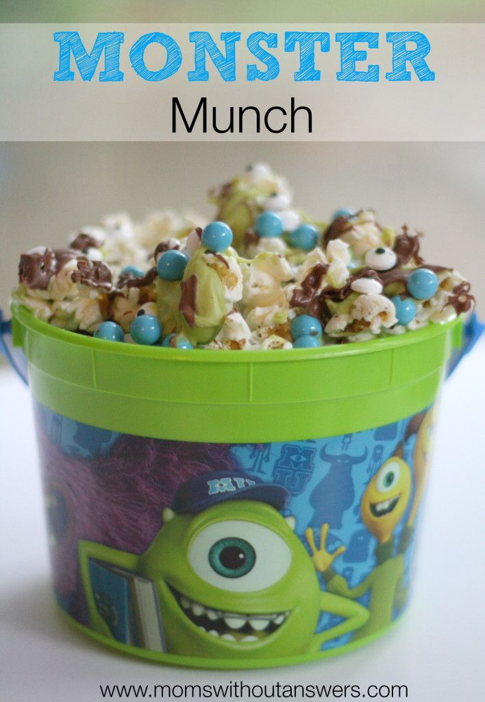 Delicious Monsters Inc themed popcorn snack