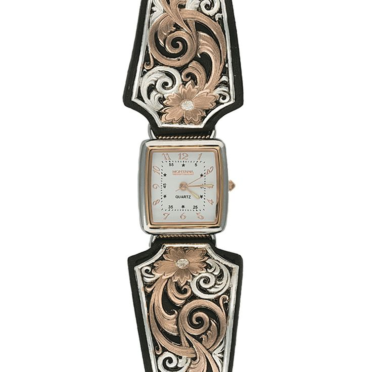 Rose Gold Vintage West Ladies Black Leather Band Watch   Montana Silversmiths