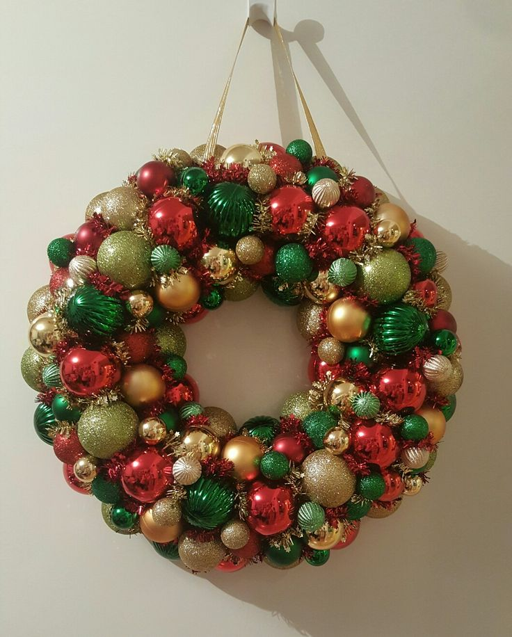 Pool noodle bauble wreath in traditional Christmas colours