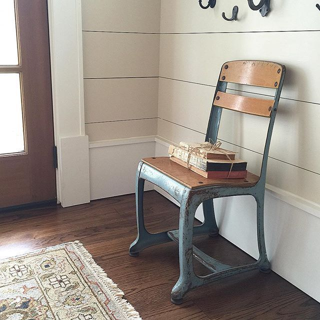 White Vintage school house chair eclecticallyvintage.com  USE WHITE TRIM WITH BEIGE/TAUPE WALLS
