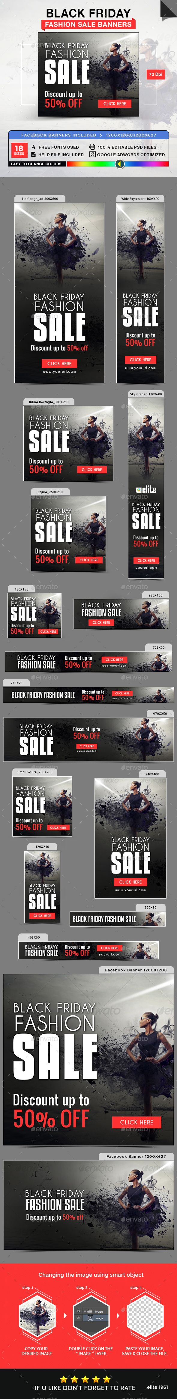 Black Friday Fashion Sale Banners — Photoshop PSD #black friday #gif banner • Available here → https://graphicriver.net/item/black-friday-fashion-sale-banners/18711835?ref=pxcr