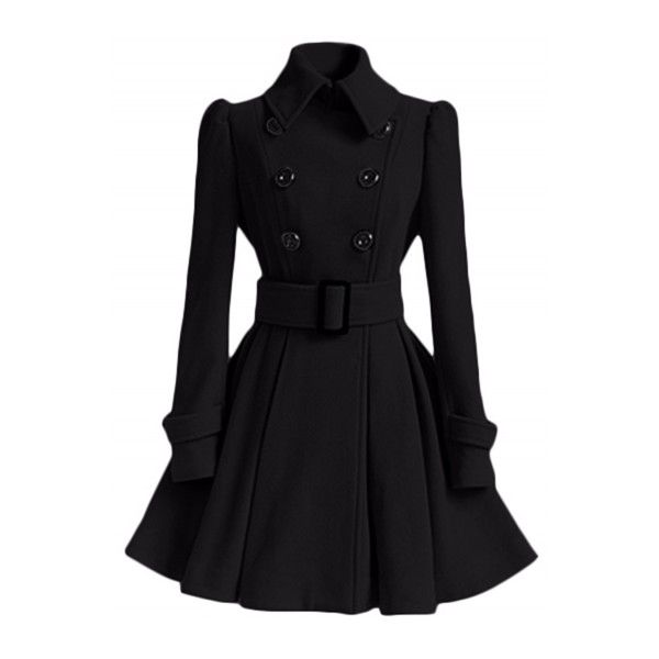 Fashion Long Sleeve Double Breasted Trench Coat (205 BRL) ❤ liked on Polyvore featuring outerwear, coats, black, long sleeve coat, trench coats, double-breasted trench coats, double breasted coat and collar coat