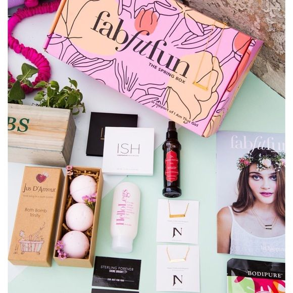 NEW Fab Fit Fun Box Accidentally ordered two!! Brand new!!!! Original packaging is untouched, I just opened it to take a picture of the catalog to show you what the box includes! Comes with Herb Garden by makerskit, contour kit by Ish, 3 bath bombs by Jus D'Amour, Keratin Gloves & Socks, Shaving lotion by Hellolegs, Aegean & hemp oil therapy by Marrakesh, 25$ 31 Bits gift card, 30$ Sterling forever gift card, yoga mat strap, gold bar necklace by Jook & Nona! GREAT DEAL!!!!! Other