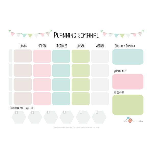 """Hoy en el blog... Descargable gratuito """"Planning semanal"""" http://miamandarinablog.wordpress.com/2014/02/12/descargable-planning-semanal/"""