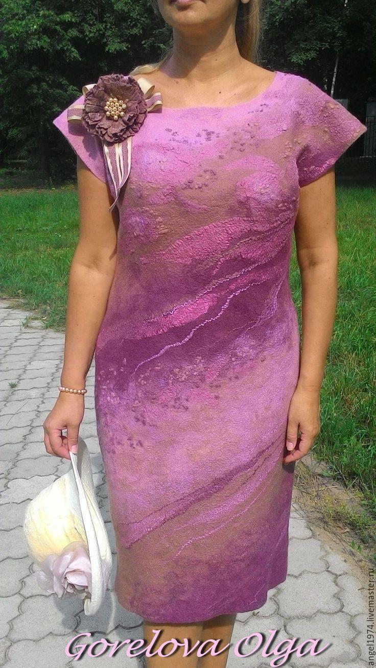 """Купить Валяное платье 50-52 размера""""Июльские розы"""""""" - комбинированный, платье валяное, валяное платье"""