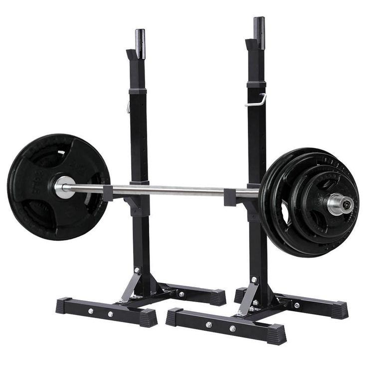 Safety Stands For Bench Press Part - 50: Fully Adjustable Heavy Duty Steel Squat Station Bench Press Bar Weight Lift  Rack