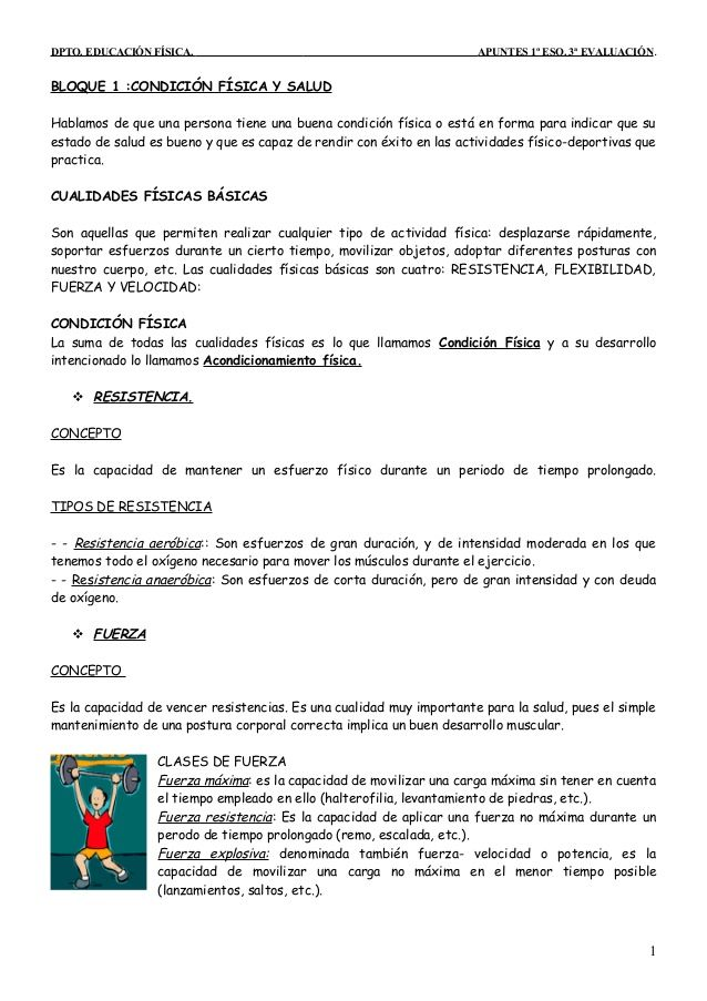 Dpto Educación Física Apuntes 1º Eso 3ª Evaluación Bloque 1 Condició Educacion Fisica Física Condicion Fisica