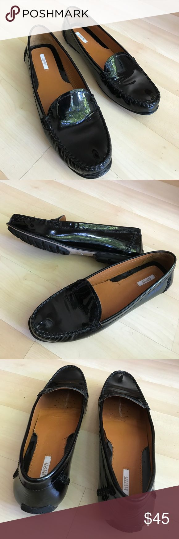 Black GEOX patent leather loafers Black GEOX patent leather loafers. Very light. Excellent condition. European Size 42. They are more like size 11/11,5. The shoes are all leather, them will stretch. Geox Shoes Flats & Loafers