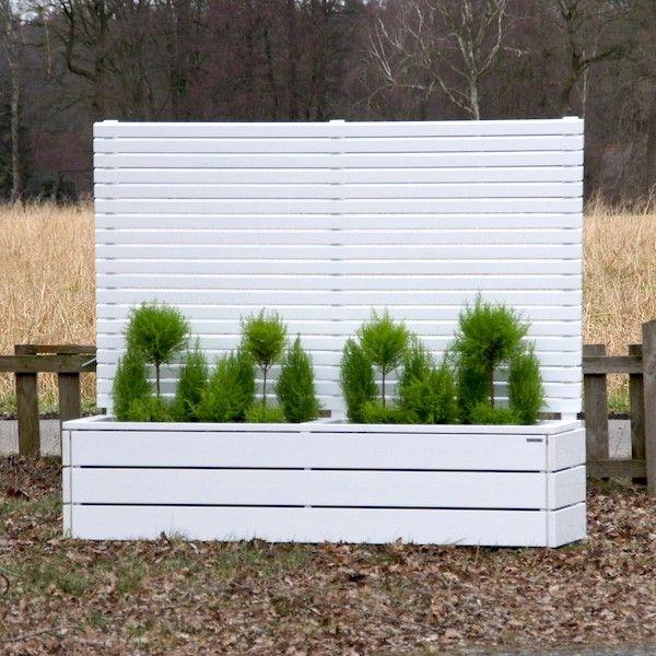 Pflanzkübel / Blumenkasten Holz mit Sichtschutz Weiß Deckend ...