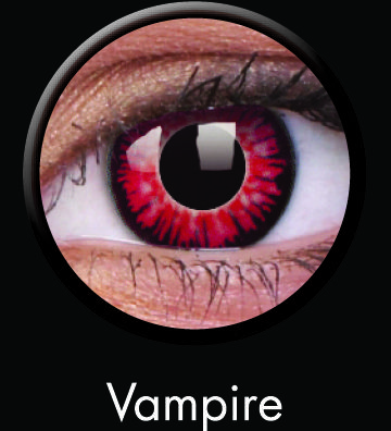 Vampire Contact Lenses from ColourVUE's Crazy Series: Vamp it up with ColourVUE's Vampire Contact Lenses! If you need a different style to go with a specific costume or outfit, check out the rest of ColourVUE's Crazy series, which includes lenses that look like animal eyes to special effects. Wear these comfy Hydrogel lenses for up to 8 hours at a time for 12 months. Retail Price: $20.15 per pair