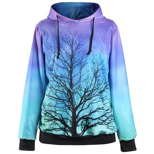 Stylish Hooded Long Sleeve Ombre Tree Printed Women's Hoodie