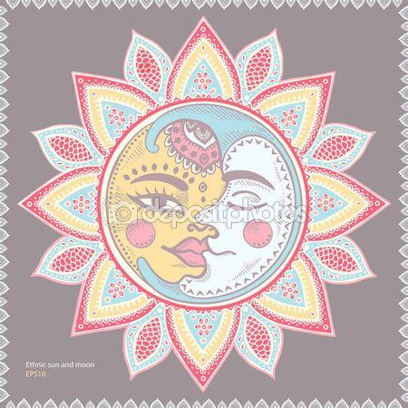 Солнце и Луна Винтаж Иллюстрация — стоковая иллюстрация #82967040