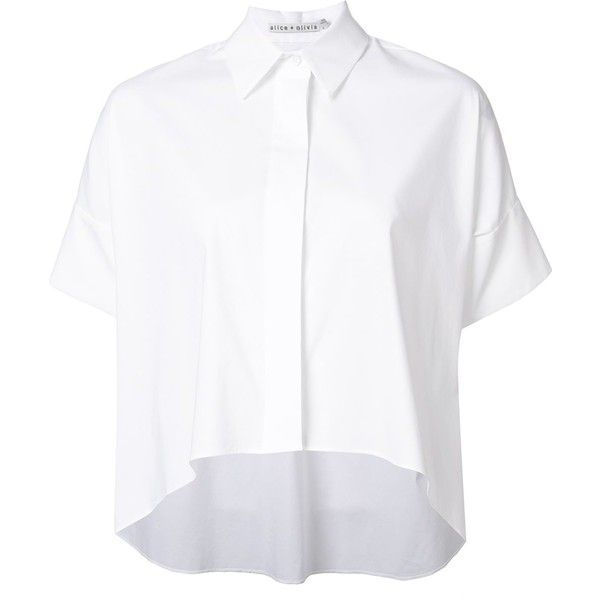 Alice+Olivia cropped button down shirt (£155) ❤ liked on Polyvore featuring tops, shirts, white, cropped button down shirt, alice olivia top, white crop top, cut-out crop tops and button down top