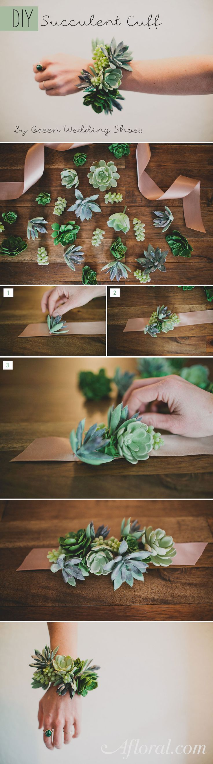 Succulent jewelry and succulent corsages are all the rage! Make your own with this simple diy and artificial succulents from afloral.com. #afloral Design by Green Wedding Shoes