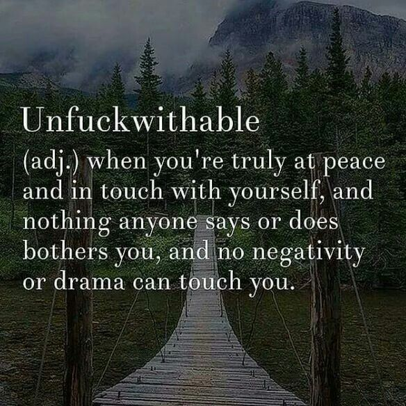 Unf*ckwithable (Adj) When you're truly at peace and in touch with yourself, and nothing anyone says or does bothers you, and no negativity or drama can touch you. Amen!! More