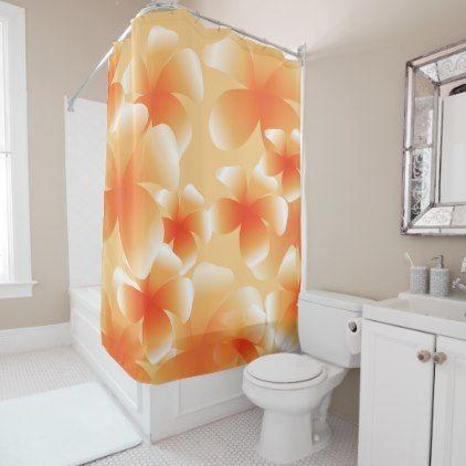 Hawaiian Luau Tropical Floral Peach Shower Curtain