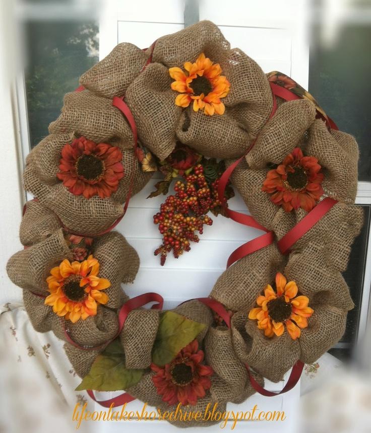 Life on Lakeshore Drive: Fall Burlap Wreath Tutorial