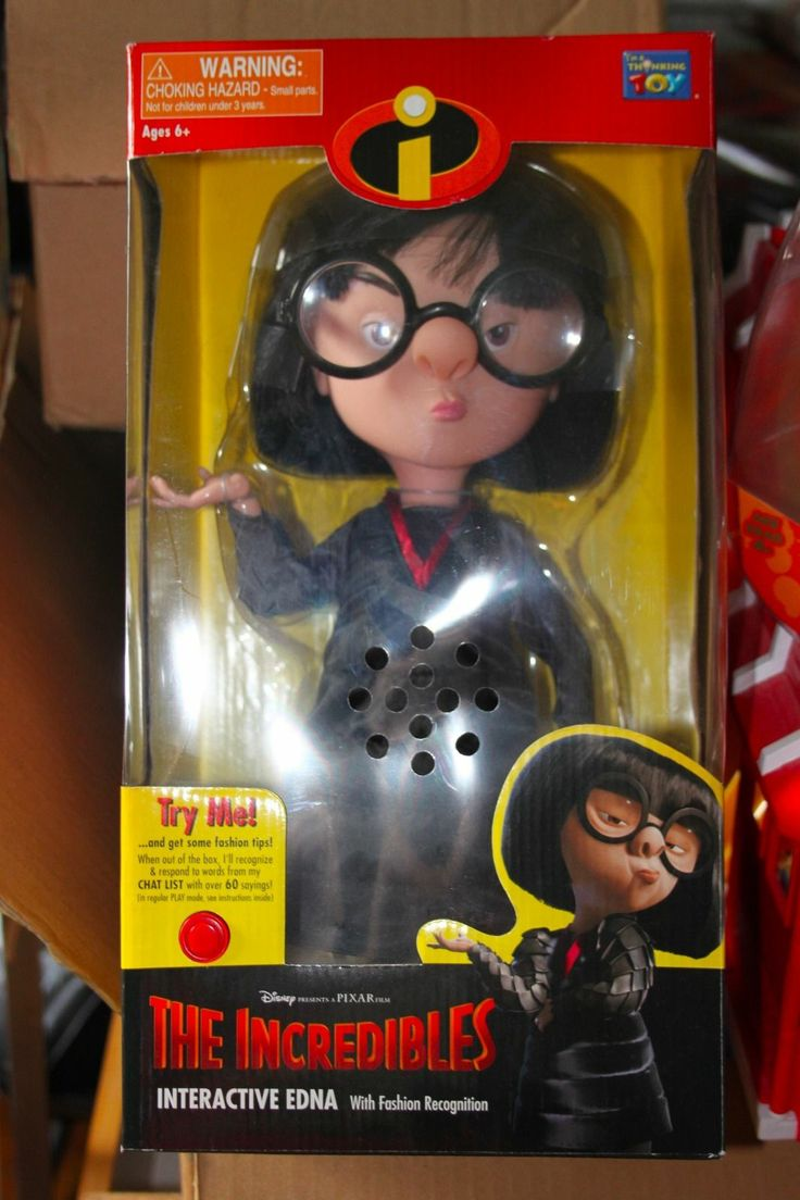 large Incredibles collectible. VGC NRFB. Interactive Edna doll 16.25+7.2