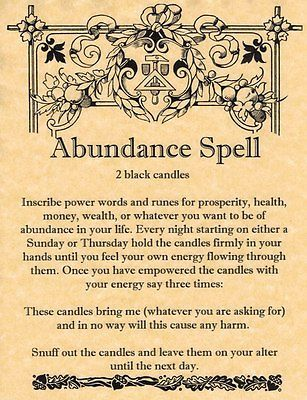 Witches Spell Book Pages | Book of Shadows Page - ABUNDANCE SPELL - Money Spell - Ships Fast ...