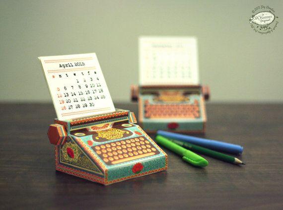 Calendario de escritorio de bricolaje papel imprimible para 2015 y 2016 | Miniatura de colores máquina de escribir | Descargar para imprimir A4 tamaño plantilla pdf archivo instantánea digital