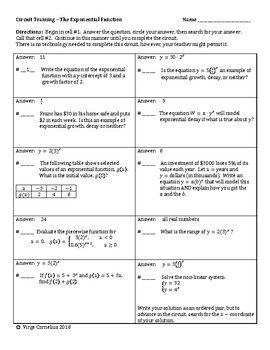 This set of 22 exercises would be perfect for a review before an exponential function test. The ideas covered are the equation, the y-intercept, the growth factor, growth vs decay, exponential vs linear, word problems, domain and range, a piecewise function, solving a system, and more!