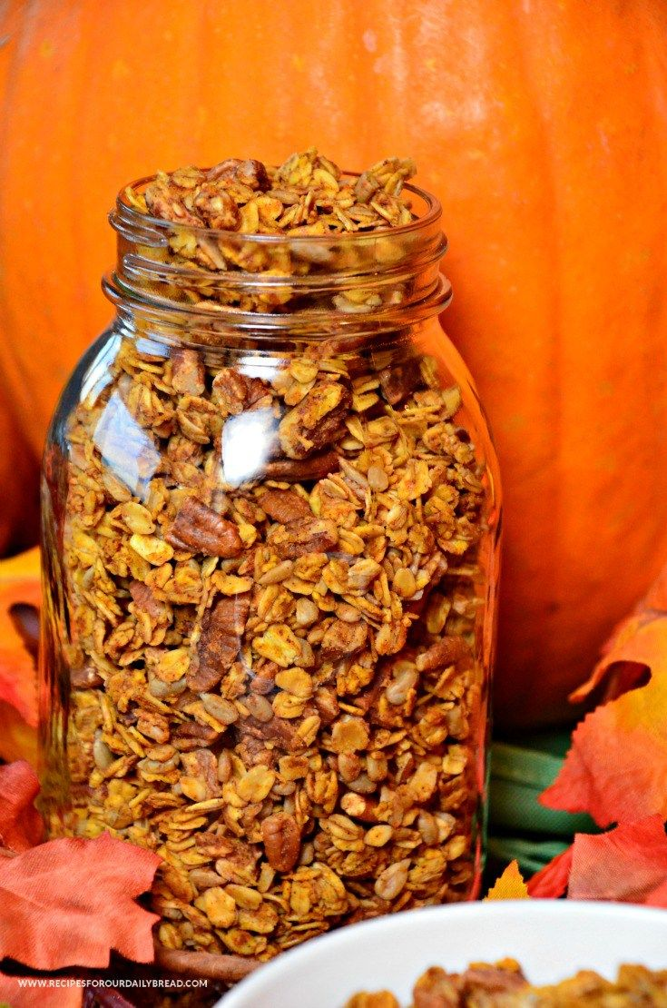 Pumpkin Pie Spice Granola - loaded with oats, pumpkin, pumpkin pie spice, honey, sunflower seeds, pumpkin seeds, and pecans. : recipesforourdailybread  #pumpkin  #thanksgiving #fall