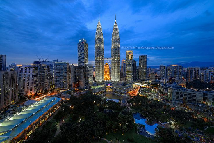 Blue Hour | Twin Tower | Kuala Lumpur. The Petronas Twin Tower took center stage in this blue hour scene, as seen from Traders Hotel's Skybar.