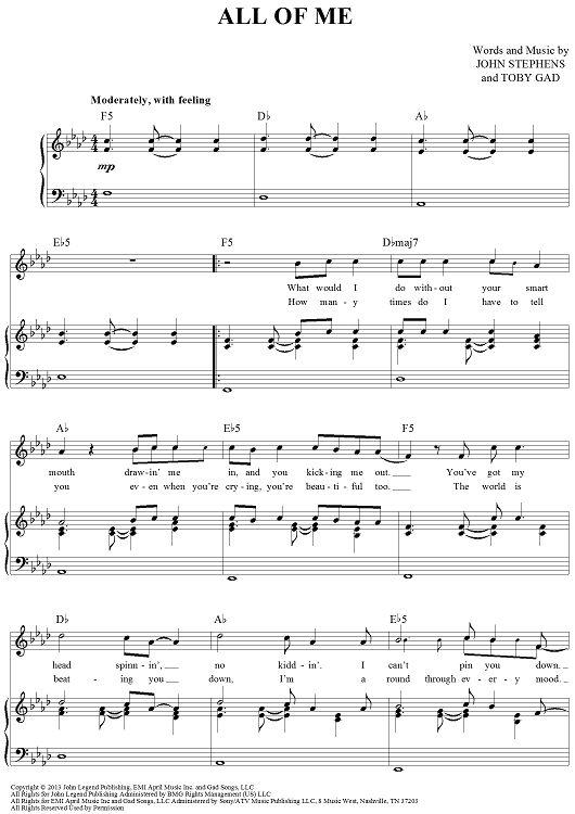john legend all of me sheet music free pdf