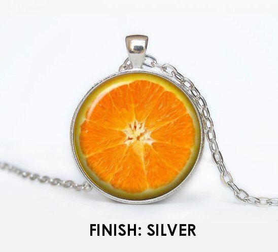 ORANGE fruit Necklace with pendant, fruit Jewelry, orange pendant gift for women, orange jewellery chain jewelley 050 by Mamarubashop on Etsy https://www.etsy.com/listing/287966221/orange-fruit-necklace-with-pendant-fruit