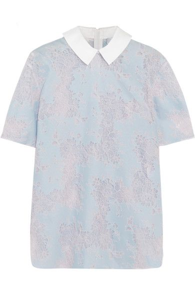 Ice-blue and pale-pink lace, white cotton-twill Zip fastening along back 82% nylon, 18% cotton; trim: 100% cotton Dry clean
