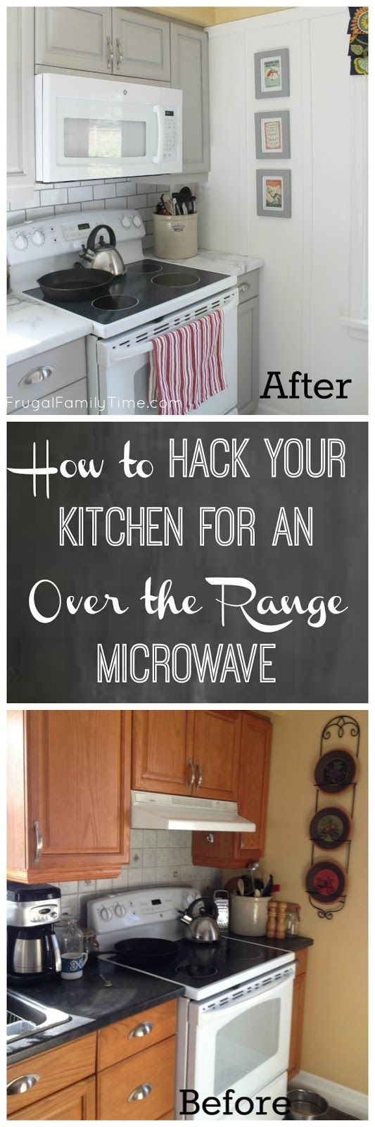 How to make an over-the-range microwave fit - our kitchen update for way less cash.  An OTR microwave can be a great DIY for a small kitchen.