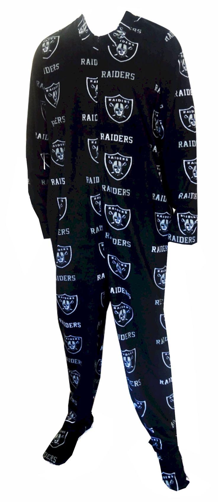 Oakland Raiders Guys Onesie Footie Black Pajama Show your team spirit! This cozy microfleece footie pajama for men features the...