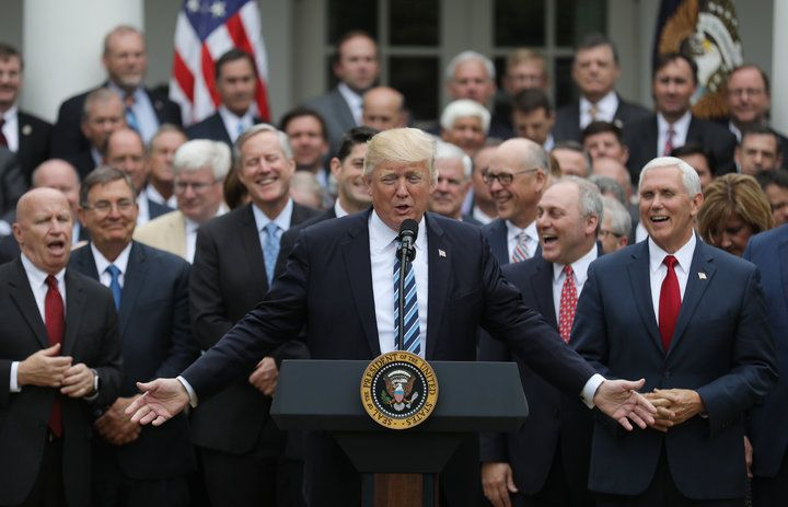 (Go to the article to see the photoshopped picture.) On closer inspection, it becomes clear thatEVERY man in the backgroundactually has the SAME FACE ― of Rep.Mark Meadows(R-N.C.)