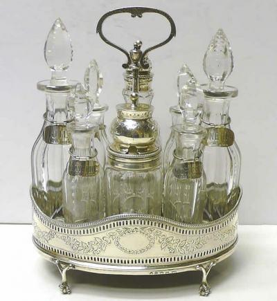 George III condiment set, silver 1782 Sheffield