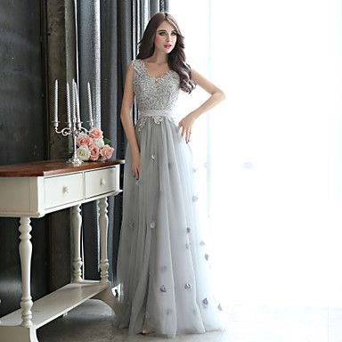 Formal Evening / Black Tie Gala Dress Sheath / Column V-neck Floor-length Tulle with Appliques / Beading / Flower(s) – USD $ 89.99