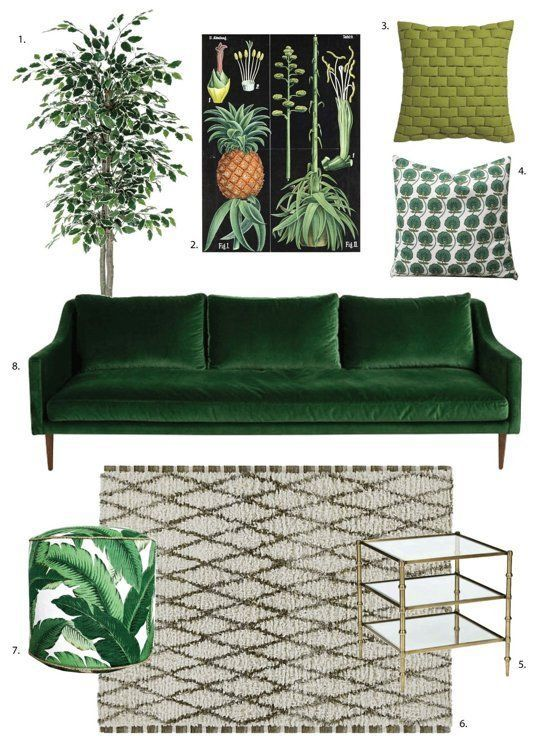 Shop The Trend: How To Get the Dark, Moody Botanical Look in 3 Very Different Style Rooms. Think dark green sofas, botanical print cushions and exotic prints.