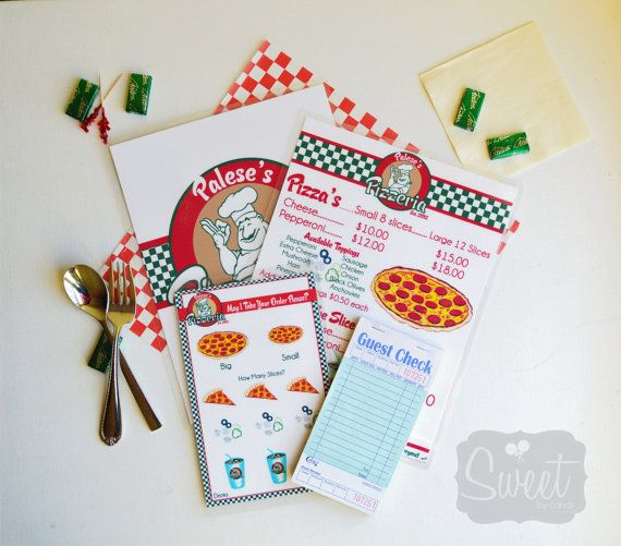 Childs Pretend Play Pizzeria Menu Set by SweetbyCandy on Etsy, $25.00
