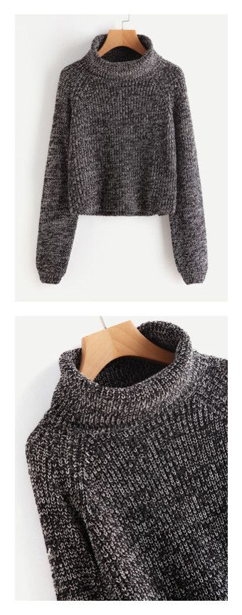 """romwe"" by bellamonica ❤ liked on Polyvore featuring tops, sweaters, knit jumper sweater, roll neck top, raglan sweater, roll neck sweater, knit jumper, black, marled sweater and knit turtleneck sweater"
