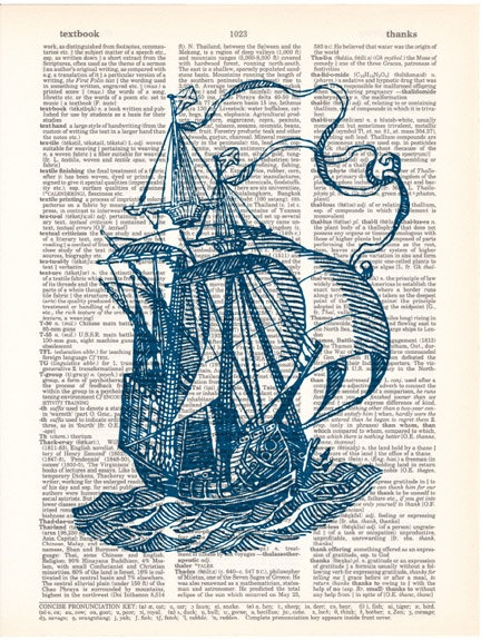 Nautical Art Print SAILING SHIP 2 in Nautical BLUE dictionary art print book page art on vintage dictionary page 8x10. $10.00, via Etsy.