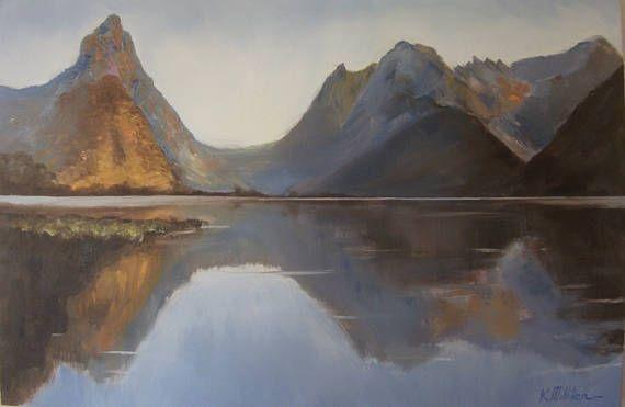 Light at Mitre Peak   landscape oil painting New Zealand