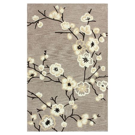 Add Stylish Eal To Your Living Room Or Den With This Hand Tufted Rug Showcasing A Blossom Motif In Oatmeal