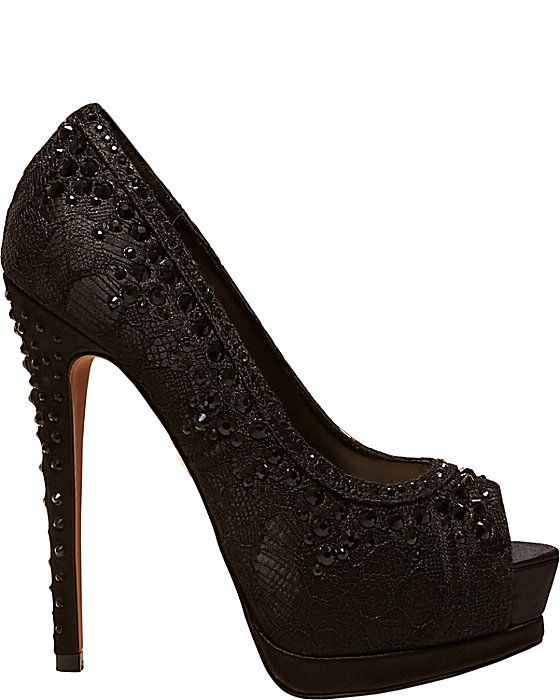 BBELA BLACK LACE women's evening high jeweled. If I could find these in purple or white they would be great for a wedding