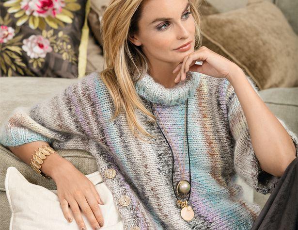 Описание вязания на спицах свитера из пряжи секционного крашения из журнала «Verena» №5/2017