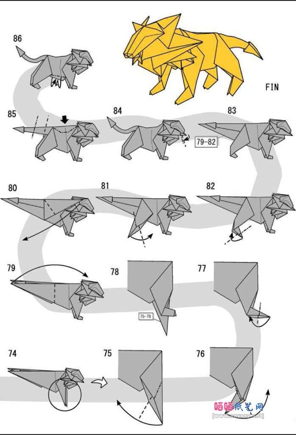 How to make origami lion instructions. Easy and advanced origami ...