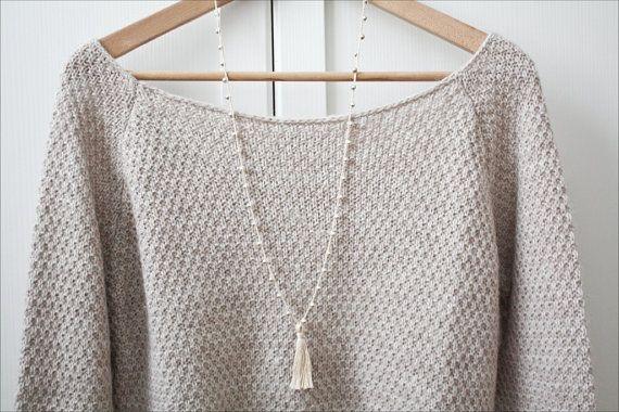 Collana Mala Crochet beige, collana all'uncinetto boho chic con nappina